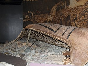 Glenbow Museum - An aboriginal canoe on display
