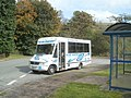 Globe Coaches bus at Taf Fechan Houses bus terminus, Pontsticill - geograph.org.uk - 2618553.jpg