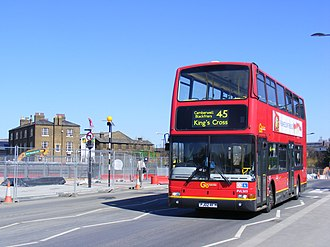 London Buses route 45 - London Central Plaxton President bodied Volvo B7TL in King's Cross in March 2012