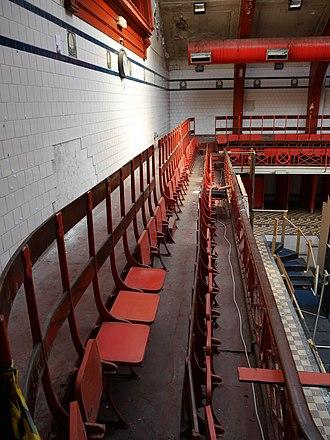 Govanhill Baths - Main pool, spectator seating