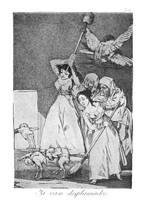 "1799 in art - Francisco Goya, Ya van desplumados (""And so they go away featherless""), print 20 in Los Caprichos"