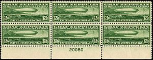 1930 Graf Zeppelin stamps - Bottom Plate block from sheet of Zeppelin stamps