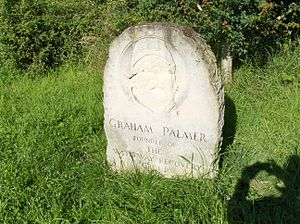 Montgomery Canal - Memorial stone to Graham Palmer, founder of the Waterway Recovery Group, located adjacent to Graham Palmer Lock on the Montgomery Canal
