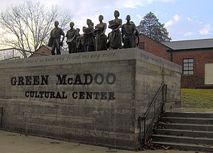 Clinton High School (Clinton, Tennessee) - These life-size bronze statues of the twelve black students who integrated Clinton High School in 1956 stand outside the former Green McAdoo School in Clinton.