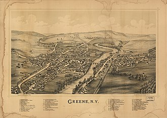 Greene, New York - Lithograph of Greene published by L.R. Burleigh 1890 with list of landmarks