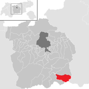 Location of the municipality of Gries am Brenner in the Innsbruck-Land district (clickable map)