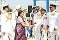 Gujarat Chief Minister Anandiben Patel congratulating Commodore BR Prakash, VSM the commanding Officer of INS Sardar Patel.jpg