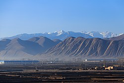 View of the Gulang County seat from the Lanzhou–Xinjiang railway