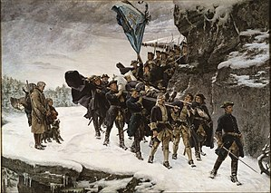 Charles XII of Sweden - Bringing Home the Body of Charles XII. A romanticized painting by Gustaf Cederström, 1884