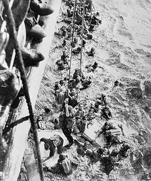HMS Dorsetshire (40) - Survivors from Bismarck are pulled aboard Dorsetshire on 27 May 1941.