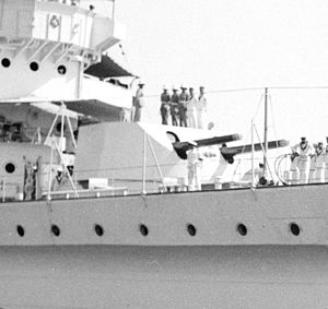 BL 6 inch Mk XII naval gun - Image: HMS Enterprise 1936 twin 6 inch gun turret LOC matpc 20229