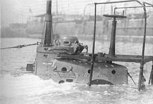 HM Submarine A10, conning tower awash (Warships To-day, 1936).jpg