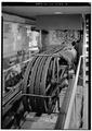 HYDRAULIC ELEVATOR RAM AND SHEAVES IN BASEMENT. - Clinton House, 120 North Cayuga Street, Ithaca, Tompkins County, NY HABS NY,55-ITH,9-19.tif