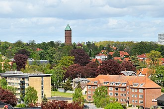 Haderslev - Kløften Festival's trademark, the red water tower, is visible from many places in the town foto:Mogens Nielsen