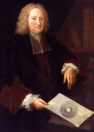 History of geomagnetism - Portrait of Edmond Halley holding an image of his concentric spheres theory.