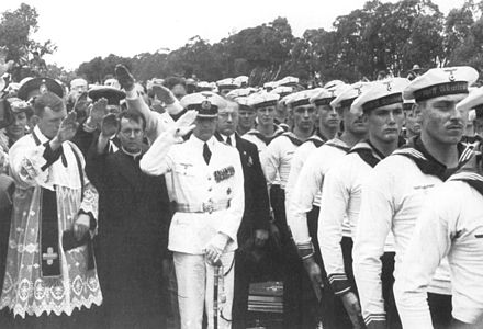 Captain Langsdorff at the funeral of crew members who were killed in the battle. Hans Langsdorff.jpg