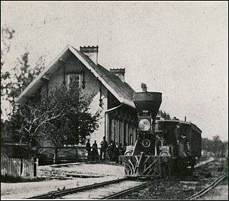 Anthony Harkness - Harkness locomotive engine at the first Glendale (Ohio) train depot in 1918