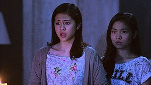 Sharlene San Pedro - San Pedro (right) alongside Janella Salvador portrays as Faye in the 2015 horror film Haunted Mansion.