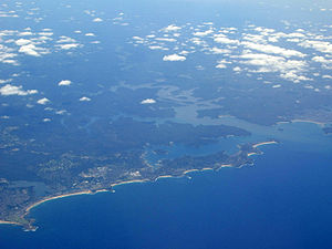 Broken Bay - Aerial photograph showing the mouth of Broken Bay as it flows into the Tasman Sea, as seen looking across Sydney's North Shore and Northern Beaches