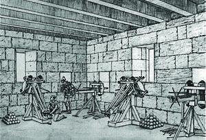 Torsion siege engine - Modern depiction of a Hellenistic artillery tower equipped with torsion ballistae