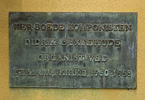 Dieterich Buxtehude - Memorial plaque at Buxtehude House in Helsingør