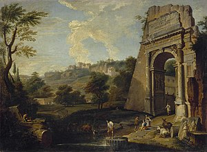 Hendrik Frans van Lint - View of the Titus Arch and Palatine in Rome