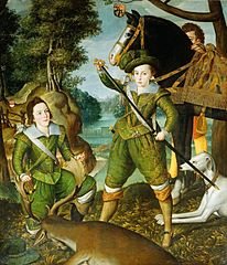 Henry, Prince of Wales with Robert Devereux, 3rd Earl of Essex in the Hunting Field