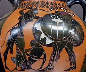 Herakles fighting Geryon (dying Eurytion on th...