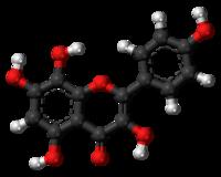 Pilk-kaj-bastona modelo de la herbacetin-molekulo