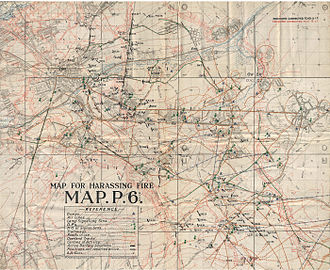 Battle of Hill 70 - Image: Hill 70 Map of harassing fire