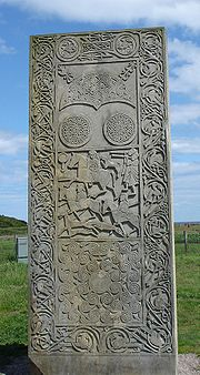 A replica of the Pictish Hilton of Cadboll Stone.