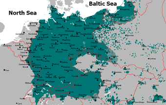 Areas of Europe with German speakers (green), ca. 1925.