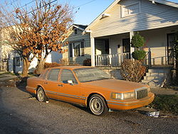 A Lincoln Town Car disabled by the flooding from Katrina.