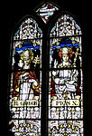 Holy Family Catholic Church (Oldenburg, Indiana) - stained glass, loft, Pope Saints Gregory the Great and Pius X.jpg