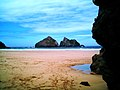 Holywell Bay, Gull Rocks from Cave - panoramio.jpg