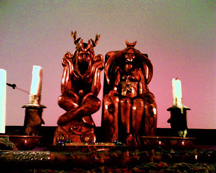 "Altar statues of the Horned God and Mother Goddess crafted by Bel Bucca and owned by the ""Mother of Wicca"", Doreen Valiente Horned God and Mother Goddess (Doreen Valiente's Altar).jpg"