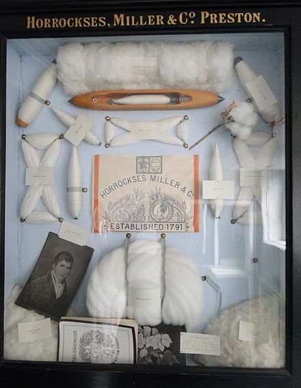 A display from a British cotton manufacturer of items used in a cotton mill during the Industrial Revolution. - Cotton