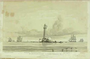 Pedra Branca dispute - Horsburgh Lighthouse, a painting by John Turnbull Thomson showing the island of Pedra Branca in 1851 just after the completion of the lighthouse he designed