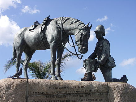 A memorial to the horses that served in the Second Boer War. Horse Memorial-002.jpg