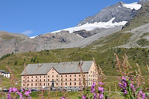 Simplon Pass - View of the Hospice du Simplon owned by the Congregation of Canons Regular at Grand-Saint-Bernard