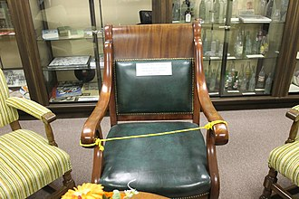 Louisiana History Museum - Chair used by Joseph Bentley, founder of the Bentley Hotel, on display