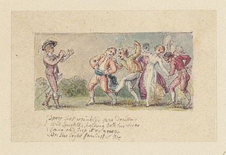 "L'Allegro - ""Sport that wrinkled Care derides..."", illustration by Thomas Stothard"