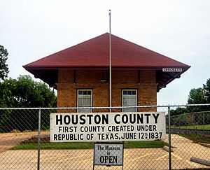 Houston County, Texas - The Houston County Museum is located in a restored railroad depot south of Crockett.