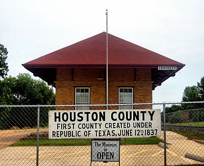 The Houston County Museum is located in a restored railroad depot south of Crockett. Houston County (TX) Museum IMG 1010.JPG