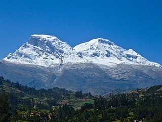Huascarán mountain in the Peruvian province of Yungay