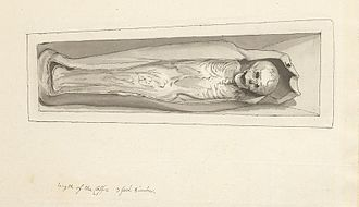 Little Saint Hugh of Lincoln - The body of Hugh in its shrine, drawn by Samuel Hieronymus Grimm
