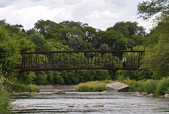 Humber River (Ontario) - After the old one was destroyed during Hurricane Hazel in 1954, a new footbridge was built in 1995 to span the Humber, between Lions and Raymore Park.