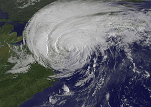 Hurricane Irene - Satellite image of Irene making landfall in New York City.