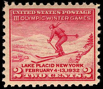 1932 Winter Olympics - III Olympic Winter Games U.S. commemorative stamp (1932)
