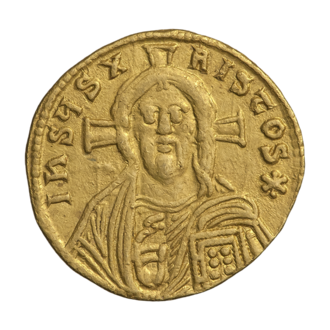 Council of Constantinople (861) - Representation of Jesus Christ on the golden solidus of Byzantine Emperor Michael III (842-867)
